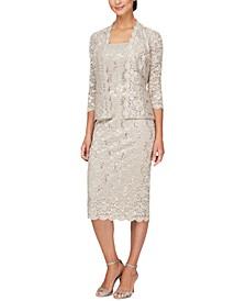 2-Pc. Lace Jacket & Midi Dress Set