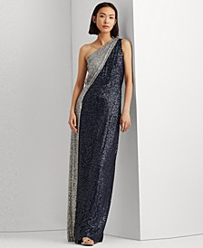 Two-Tone Sequined One-Shoulder Gown