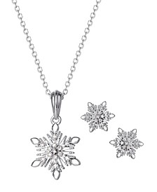 Frozen Snowflake Diamond Accent Pendant and Earring Set in Sterling Silver