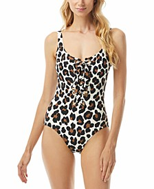 Animal-Print Lace-Up One-Piece Swimsuit