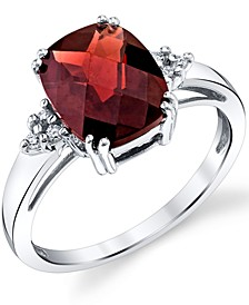 Rhodolite Garnet (3-1/2 ct. t.w.) & Diamond (1/20 ct. t.w.) Ring in Sterling Silver