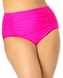 California Waves Trendy Plus Size Shirred High-Waist Bikini Bottoms, Created for Macy's