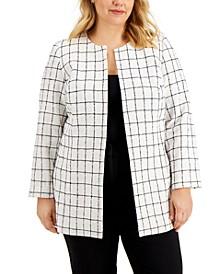 Plus Size Windowpane Jacket
