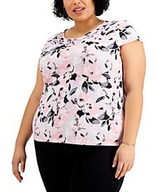 Plus Size Floral-Print Cowlneck Top