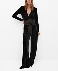 Women's Bow Velvet Textured Jumpsuit
