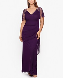Plus Size Embellished Chiffon Gown