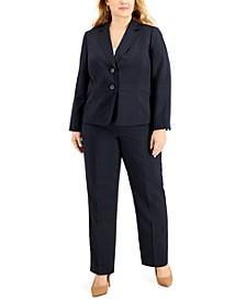 Plus Size Notched-Lapel Pantsuit