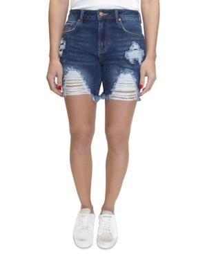 Dark Wash Distressed Denim Shorts