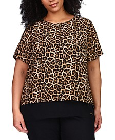 Plus Size Printed Layered Split-Back Top