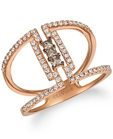 Chocolate Diamond & Vanilla Diamond Statement Ring (3/8 ct. t.w.) in 14k Rose Gold