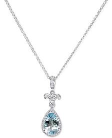 """Aquamarine (1-1/2 ct. t.w.) & Diamond (1/6 ct. t.w.) Fleur de Lis 18"""" Pendant Necklace in 14k White Gold"""