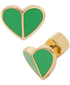 Gold-Tone Heart Stud Earrings