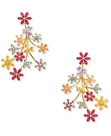 Gold-Tone Multicolor Cubic Zirconia Flower Chandelier Earrings