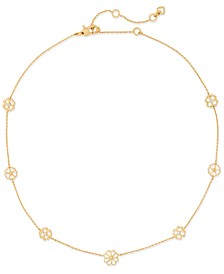 "Gold-Tone Cubic Zirconia Flower Station Collar Necklace, 16"" + 3"" extender"
