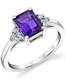 Amethyst (1-5/8 ct. t.w.) & Diamond (1/8 ct. t.w.) Ring in 14k White Gold