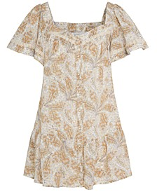Printed Lace-Trim Dress