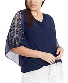Plus Size Drape-Neck Beaded-Sleeve Top