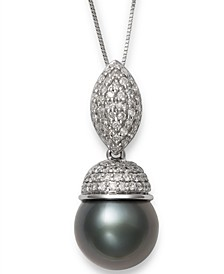 """Cultured Tahitian Pearl (10mm) & Diamond (3/8 ct. t.w.) 18"""" Pendant Necklace in 14k White Gold"""