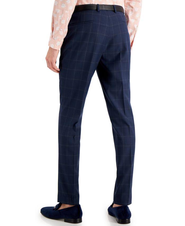 INC International Concepts INC Men's Slim-Fit Blue Windowpane Plaid Suit Pants, Created for Macy's  & Reviews - Pants - Men - Macy's