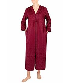 Brushed-Back Long Satin Zipper Robe