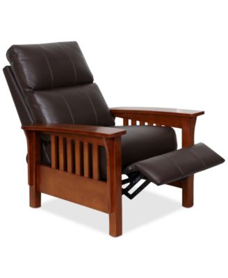 Harrison Leather Pushback Recliner  sc 1 st  Macyu0027s : wood arm recliner - islam-shia.org