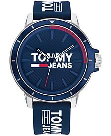 Tommy Hilfiger Blue Silicone Strap Watch 44mm,