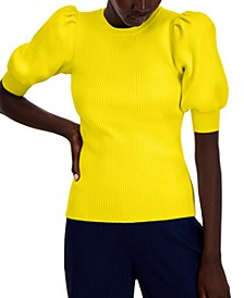 INC Puff-Sleeve Ribbed Sweater, Created for Macy's