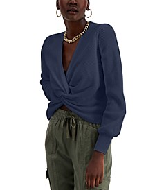 INC Cotton Twist-Front Sweater, Created for Macy's