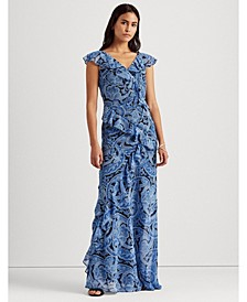 Paisley Crinkled Georgette Gown