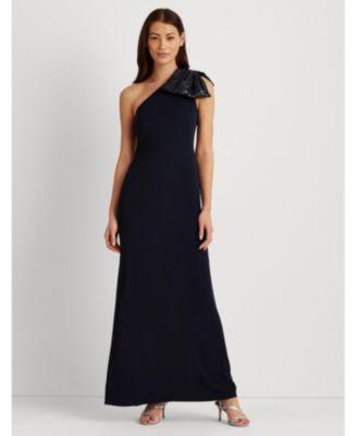 로렌 랄프로렌 Lauren Ralph Lauren Crepe One-Shoulder Gown,Navy Blue/Silver