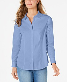 Petite Button-Down Woven Shirt, Created for Macy's