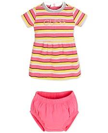 Baby Girls 2-Pc. Striped Dress & Bloomer Set