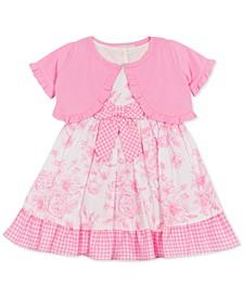 Baby Girls Printed Poplin Dress & Cardigan Set