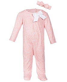 Baby Girls Leopard-Print Cotton Coverall, Created for Macy's