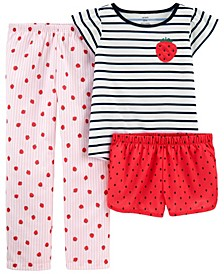 Big Girls 3 Piece Strawberry Loose Fit Pajama Set