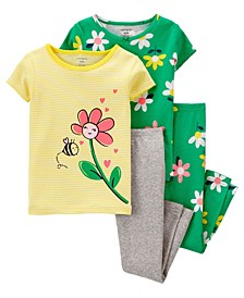 Toddler Girls 4 Piece Floral Snug Fit Pajama Set