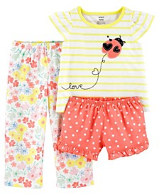 Toddler Girls 3 Piece Ladybug Loose Fit Pajama Set