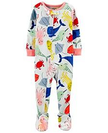 Toddler Girls Whales Snug Fit Footie Pajama Set