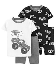 Toddler Boys 4 Piece Monster Truck Snug Fit Pajama Set