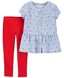 Toddler Girls 2 Piece Heart Peplum Top Legging Set