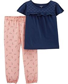 Toddler Girls 2 Piece Lace Tee Floral Pant Set