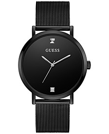 Men's Diamond-Accent Black Stainless Steel Mesh Bracelet Watch 44mm