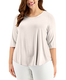 Plus Size Satin-Trim T-Shirt, Created for Macy's