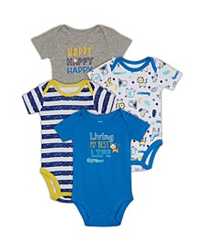 Baby Boys Animals Bodysuit, 4 Piece Set