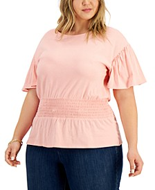 INC Plus Size Cotton Smocked-Waist Top, Created for Macy's