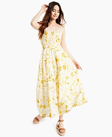 INC Printed Smocked Maxi Dress, Created for Macy's