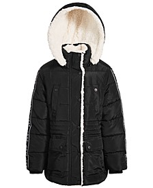 Toddler and Little Girls Puffer Coat with Faux Sherpa Lining