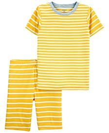 Big Boys or Girls 2 Piece Striped Snug Fit Pajama Set