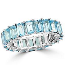 EFFY® Blue Topaz Emerald-Cut Band (9-1/3 ct. t.w.) in 14k White Gold