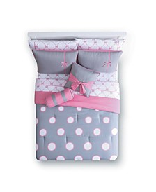 Sophie Polka Dot Bed in a Bag 10 Piece Comforter Set, Full